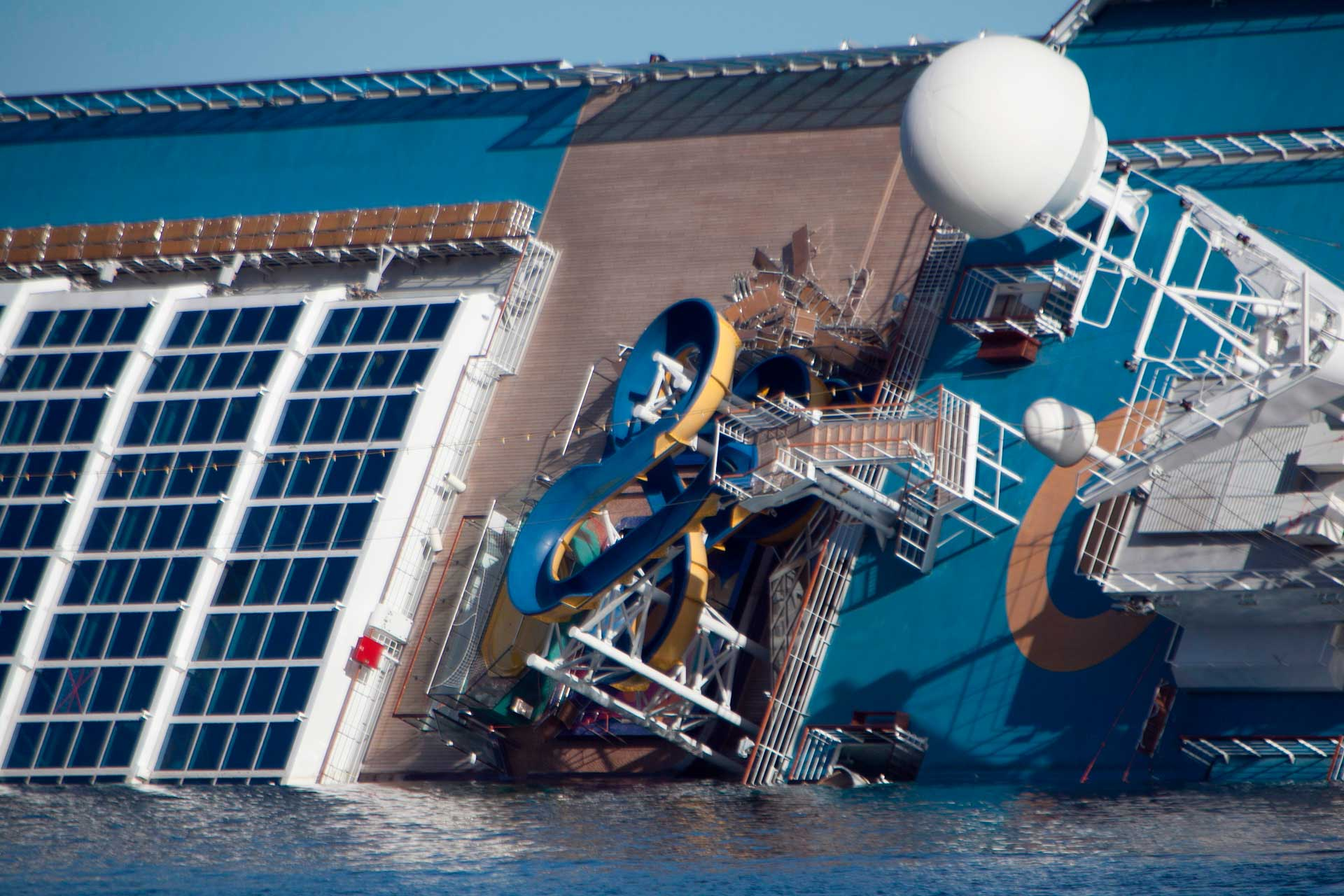 The slides of the water park on the upper deck ended up directly in the sea and the armchairs were piled up against a bulkhead.