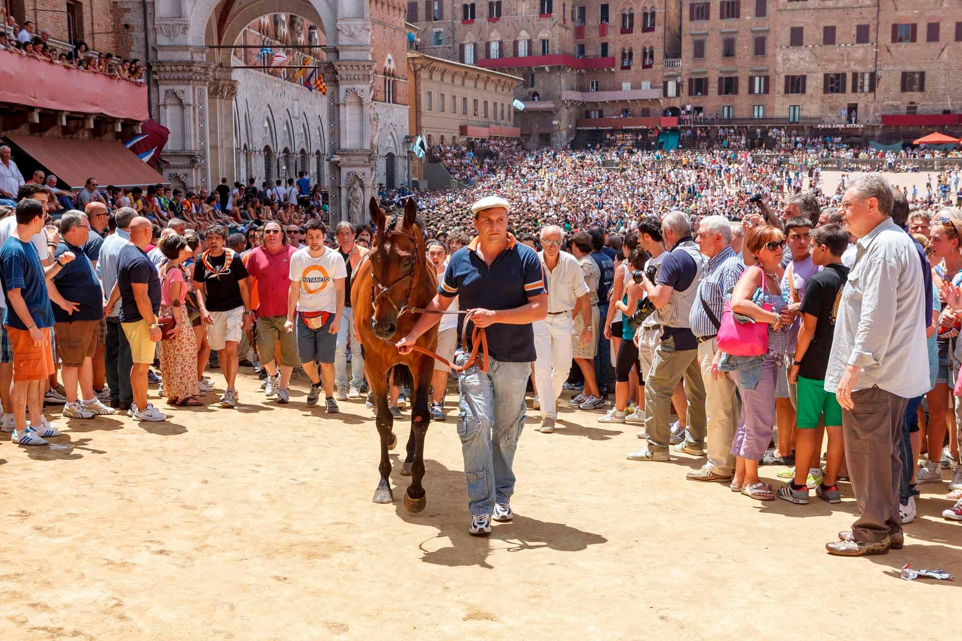 IL SORTEGGIO - Una volta ricevuto il cavallo sorteggiato, la Contrada, tramite il proprio Barbaresco, lo prende in consegna fino a palio corso. Il cavallo non potr? essere sostituito per nessun motivo.