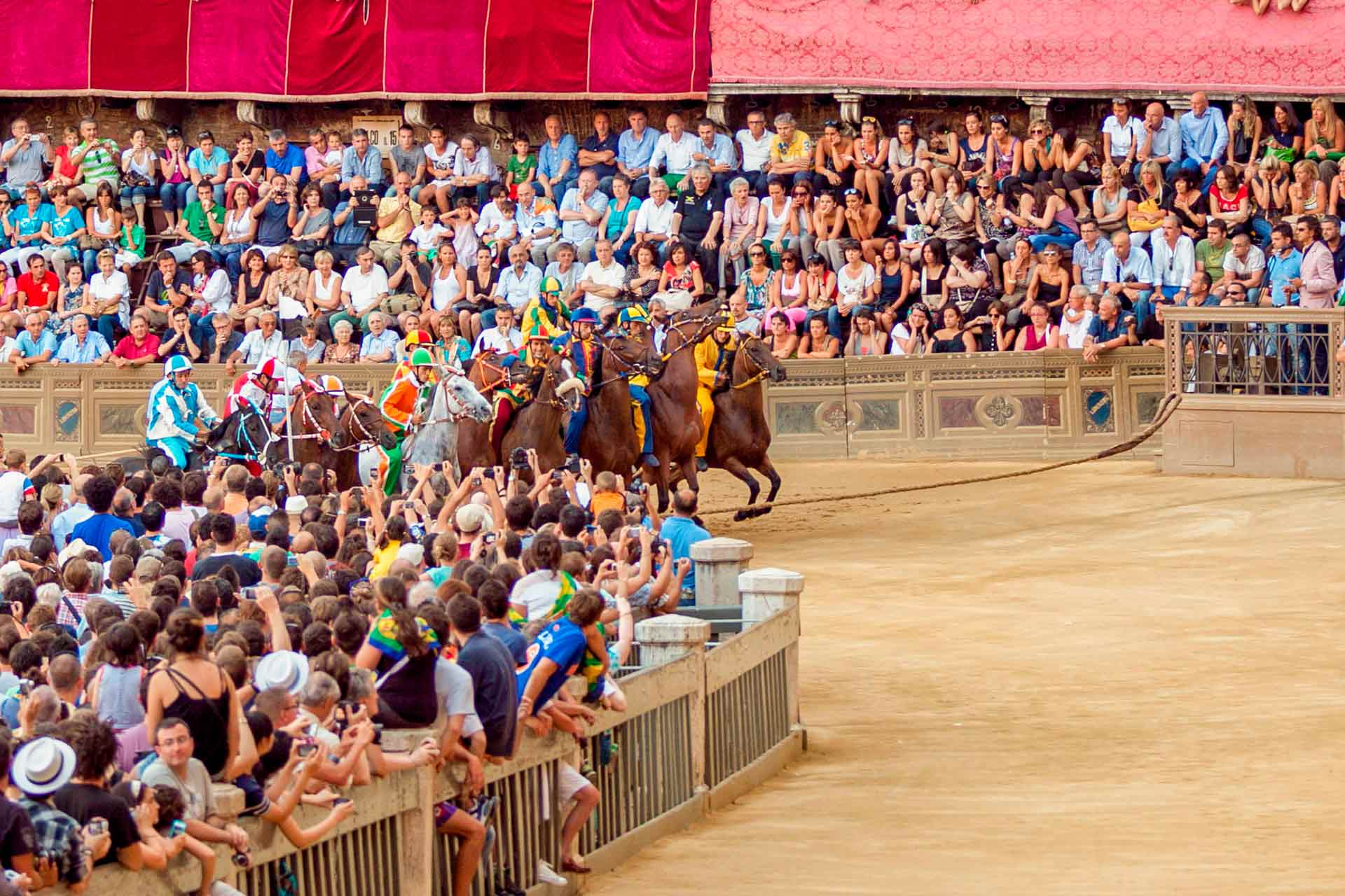 THE FIRST TEST ? The tests are carried out in the morning and in the evening, starting from the afternoon of the ?TRATTA? day until the morning of the PALIO day. The Contradas cannot refuse to run a trial, unless their horse is unable to run.