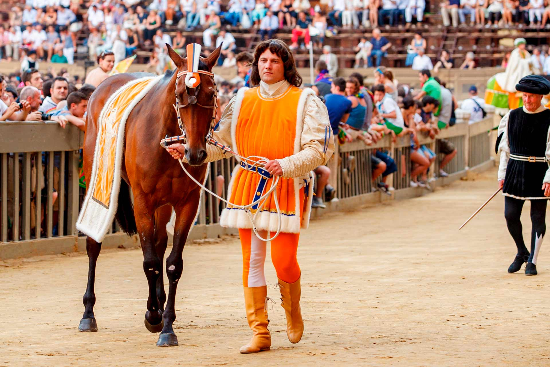 """ON TRACK FOR THE""""CARRIERA"""" ? The horses of the """"CONTRADE"""" parade accompanied by their Barbareschi."""